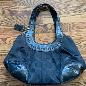 Coach signature hobo patent leather laced cloth